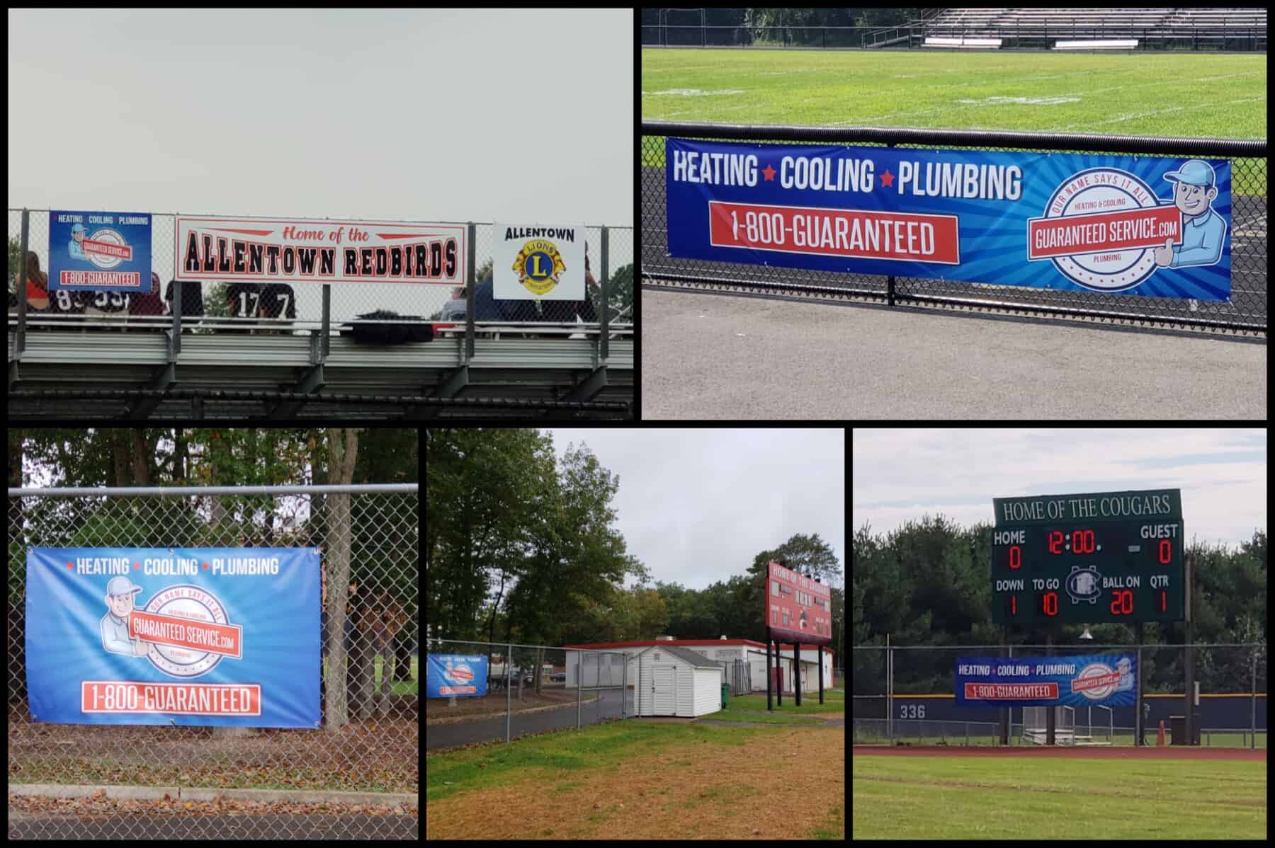 Collage of Guaranteed Service Banners at Various Fields